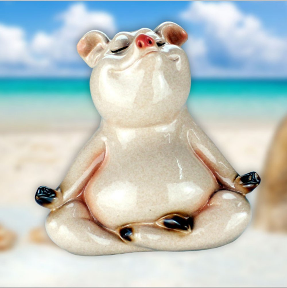 PINGJING Resin Novelty Pig Figurine,Dance Pig with Grass Skirt Statue,Yoga Pig Fishing Pig for Home Office Decoration Gift (Yoga Pig)