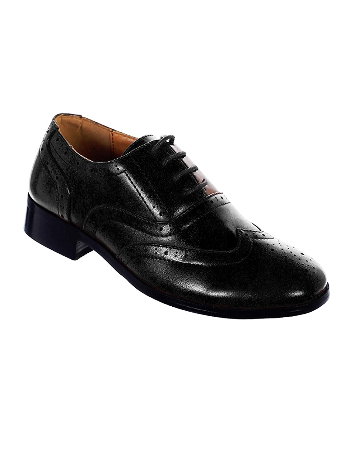 Tip Top Kids Boys Black Wingtip Oxford Shoes 5-10 Toddler