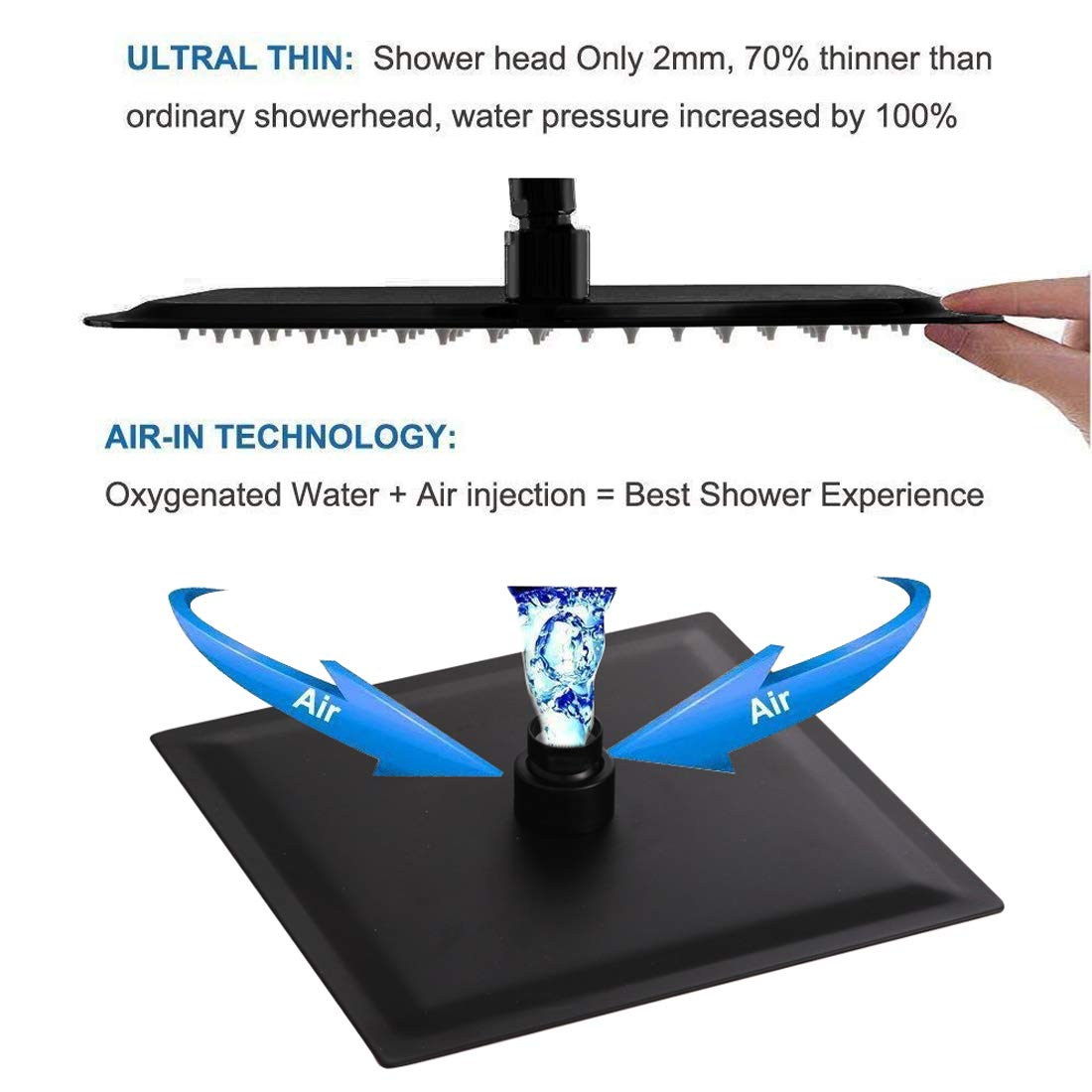 POP Single Function Shower Trim Kit with Rough-in Valve Bathroom Rain Shower Set Bath Rainfall Shower Faucet System with Square Stainless Steel Metal Showerhead Polished Chrome