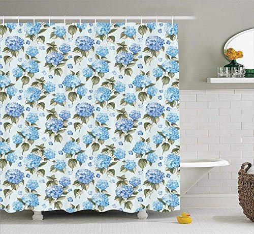 Giraffe Shower Flower Blue (Afagahahs Floral Shower Curtain Set Blue Hydrangea Flowers Over Light Background Wedding Bridal Artistic Theme Design Bathroom Curtains Blue House Decor Green)