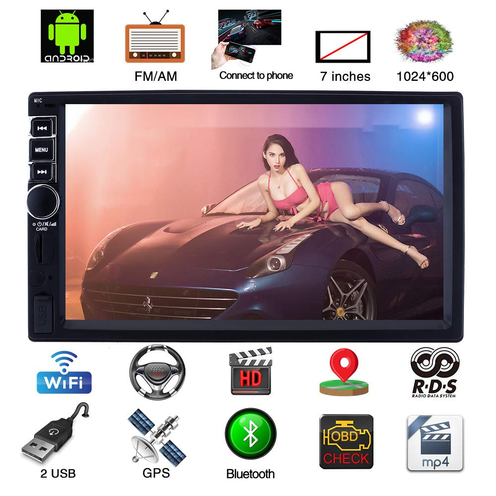 Upgraded 7 Inch Touch Screen Android 7.1 QuadCore CPU Double Din Car Stereo in Dash GPS Navigation Surport Bluetooth WiFi Car Radio Audio Vehicle Headunit with Free Rear Camera and Car Tunin (Black)