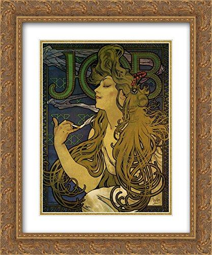 (Job 1897 2X Matted 15x18 Gold Ornate Framed Art Print by Alphonse Mucha)
