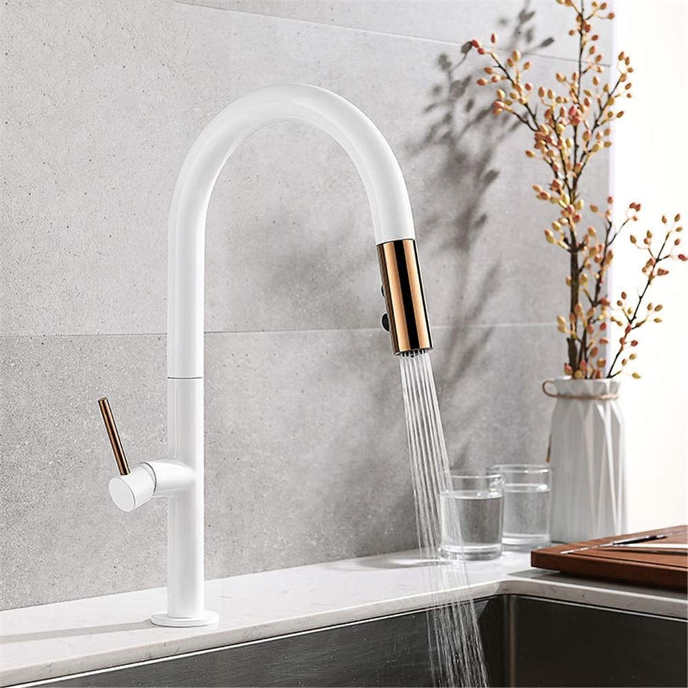 Yee Pull Out Kitchen Faucet, Rose Gold And White Sink Mixer Tap, 360 Degree Rotation Kitchen Mixer Taps Kitchen Tap,White
