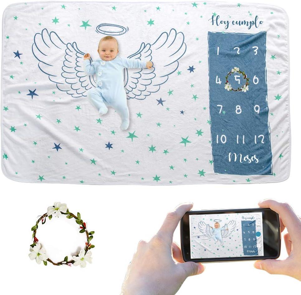 JMITHA - Manta para bebé con diseño de hito mensual, fondo de fotos de Navidad, manta para envolver bebés Número de bebé (e-Ala del ángel 1) 100x150cm