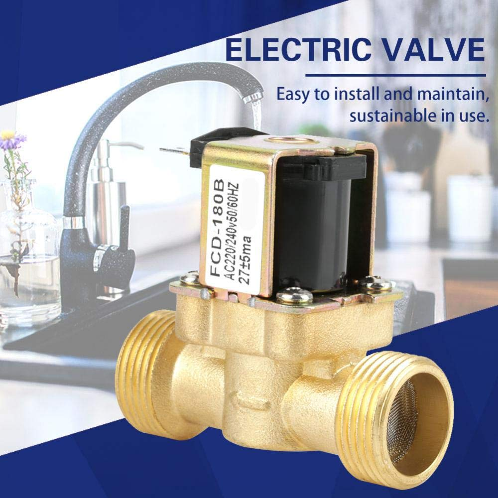 Electric G3//4 2 Way Solenoid Valve Brass Solenoid Valve G3//4 2 Way Water Inlet N//C Normal Closed Electric Solenoid Valve AC 220//240V FCD-180B for Household Appliances Industrial Equipment