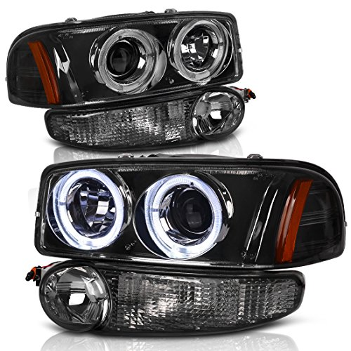 For 00-06 GMC Sierra/Yukon Denali Halo Projector Headlight Assembly w/LED + Parking Bumper Lamp, Smoked Housing Clear Lens, One-Year Limited Warranty (Driver and Passenger Side)