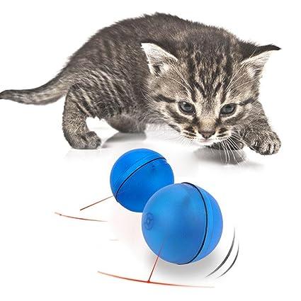 Juguete interactivo para gatos, AOLVO bola giratoria automática con LED flash para cachorro, gato