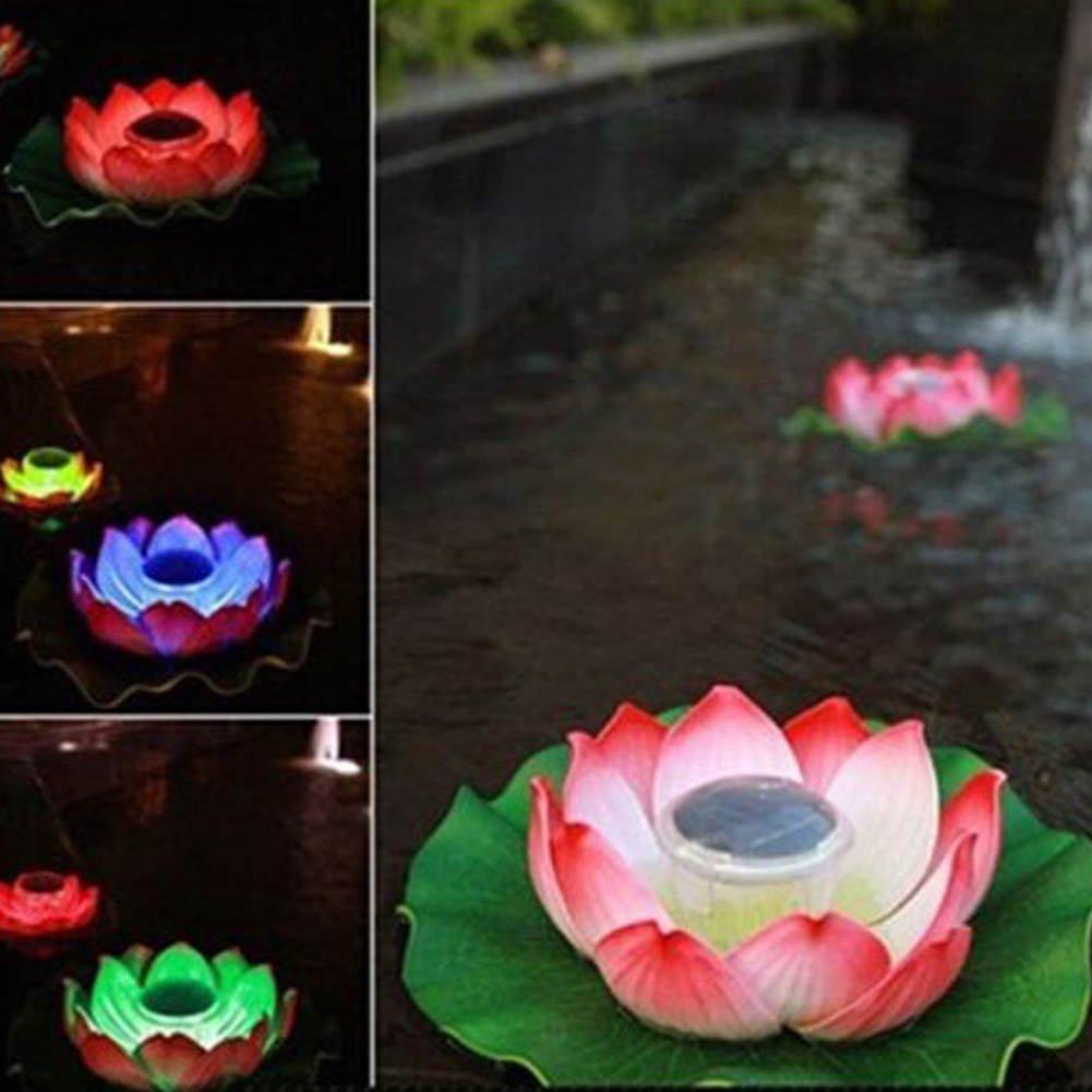 SSTQSAA Solar Power Floating Lotus Flower Light Pink Waterproof LED Pool Water Lights for Home Garden Pond Aquarium Wedding Decor