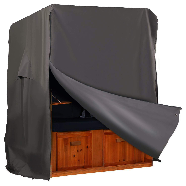 Hentex Cover Schutzhülle Strandkorb Abdeckung aus 300D und TPU, Winterfest und Wasserdicht, Sonnencreme, UV- Beständig Strandkorb Premium Strandkorbhülle in Grau. (L 150cm)