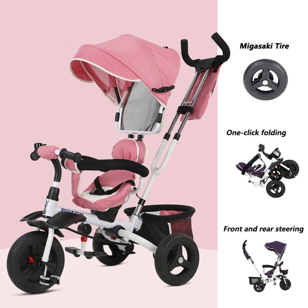 Triciclo para niños de 1 a 5 años Pedal bebé / niño Pedaleo para bicicleta de bebé plegable, Azul / púrpura / rosa, 75 * 50 * 103 cm (Color : Pink) : ...