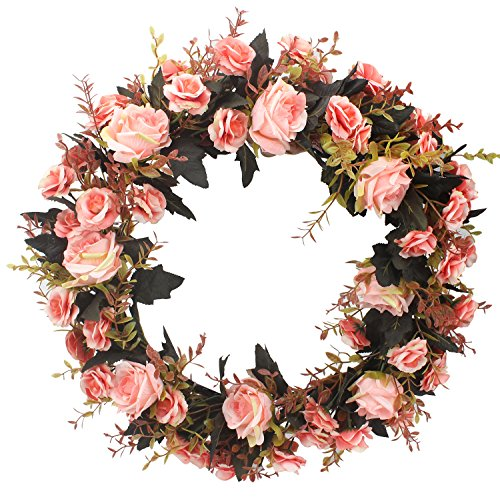 Duovlo Rose Floral Twig Wreath 19 Inch Handmade Artificial Flowers Garland Front Door Wreath (Pink)