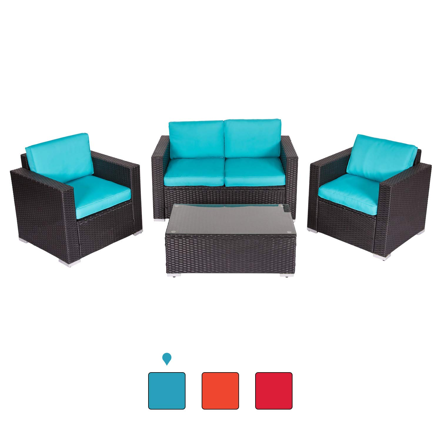 Peach Tree 4 PCs Outdoor Patio PE Rattan Wicker Sofa Sectional Furniture Set with Tea Table by Peachtree Press Inc