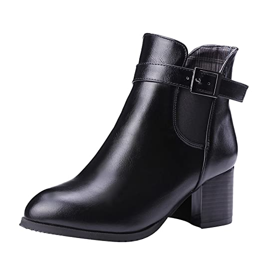 Women's Monk Strap Chunky Heel Short Boots