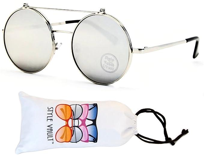 18c4a12b6ff V135-vp Style Vault Round Flip up Django Metal Sunglasses (B2740F  Silver-mirror
