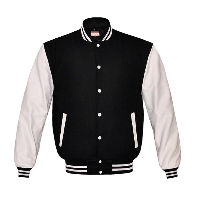 Mens Fashion Black and Red Baseball Varsity Letterman Jacket