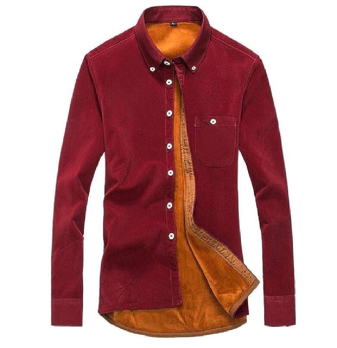 SportsX Men Corduroy Plus Size Leisure Plus Velvet Button Down Shirt