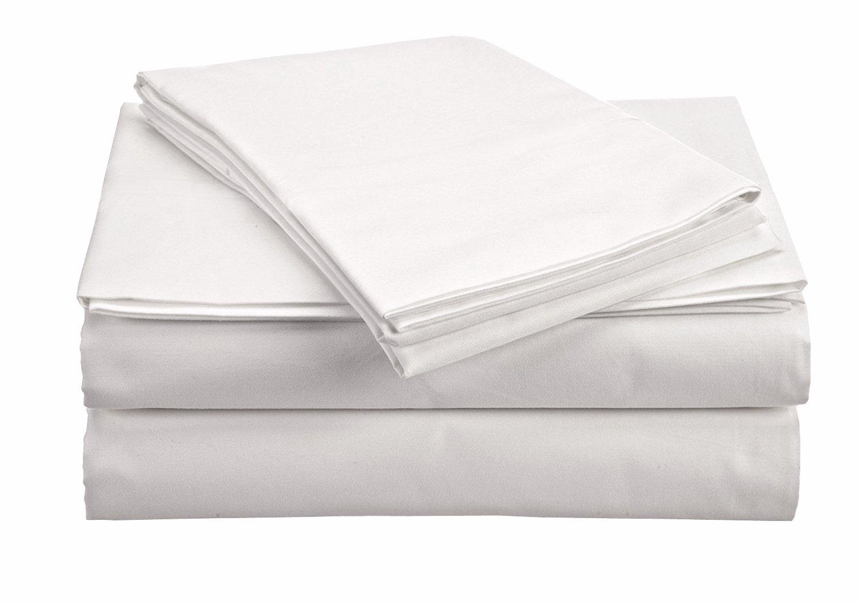 The Green Farmer 100% Organic Cotton Sheet Set Full Size|GOTS Certified Organic Sheets|400TC, White Sheet Set