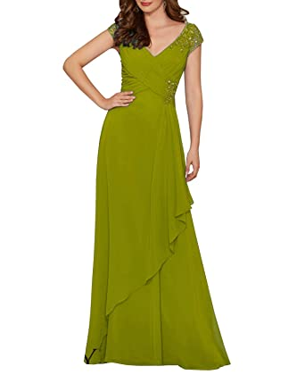 e51f945fab50 Wanshaqin Women's Pleated Crystal Beaded Formal Evening Chiffon Gown Party  Dress with Empire Waist Illusion Jewelled