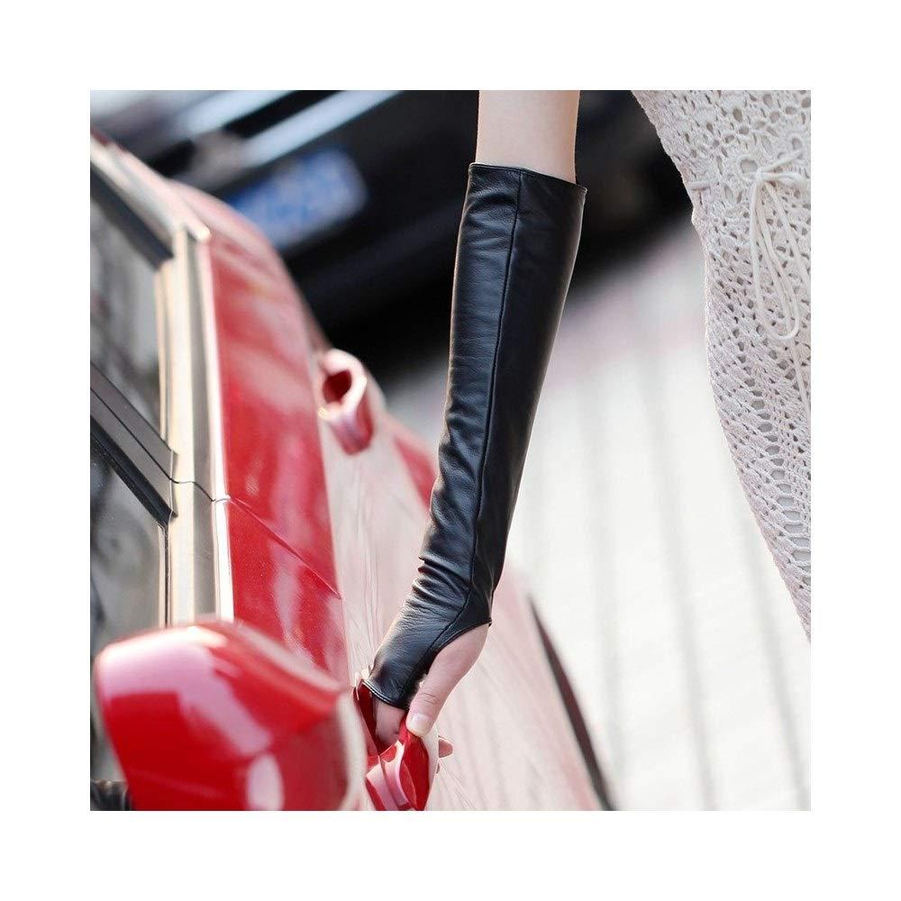 Long Arm Warmer Dress Up Fingerless Gloves Leather Elbow Long Fingerless Driving Gloves (Color : Black, Size : L)