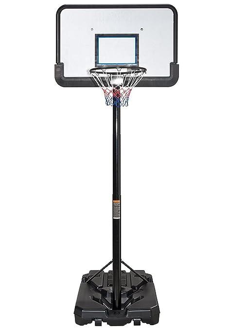 Canasta de baloncesto profesional, altura ajustable, portátil, sistema de soporte con tablero de 112 cm, de IUNNDS