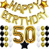 50th Birthday Party Decorations Kit with Happy Birthday Foil Balloons, 50 Number Balloon Gold, Balck Gold and White Latex Balloons,Perfect 50 Year Old Party Supplies, Free Bday Printable Checklist