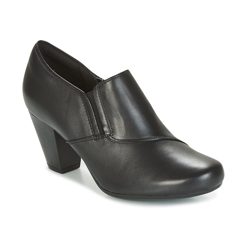 45e47e676a08a0 Clarks Women s Slip-On Block Heel Shoes Rosalyn Adele Black Leather ...