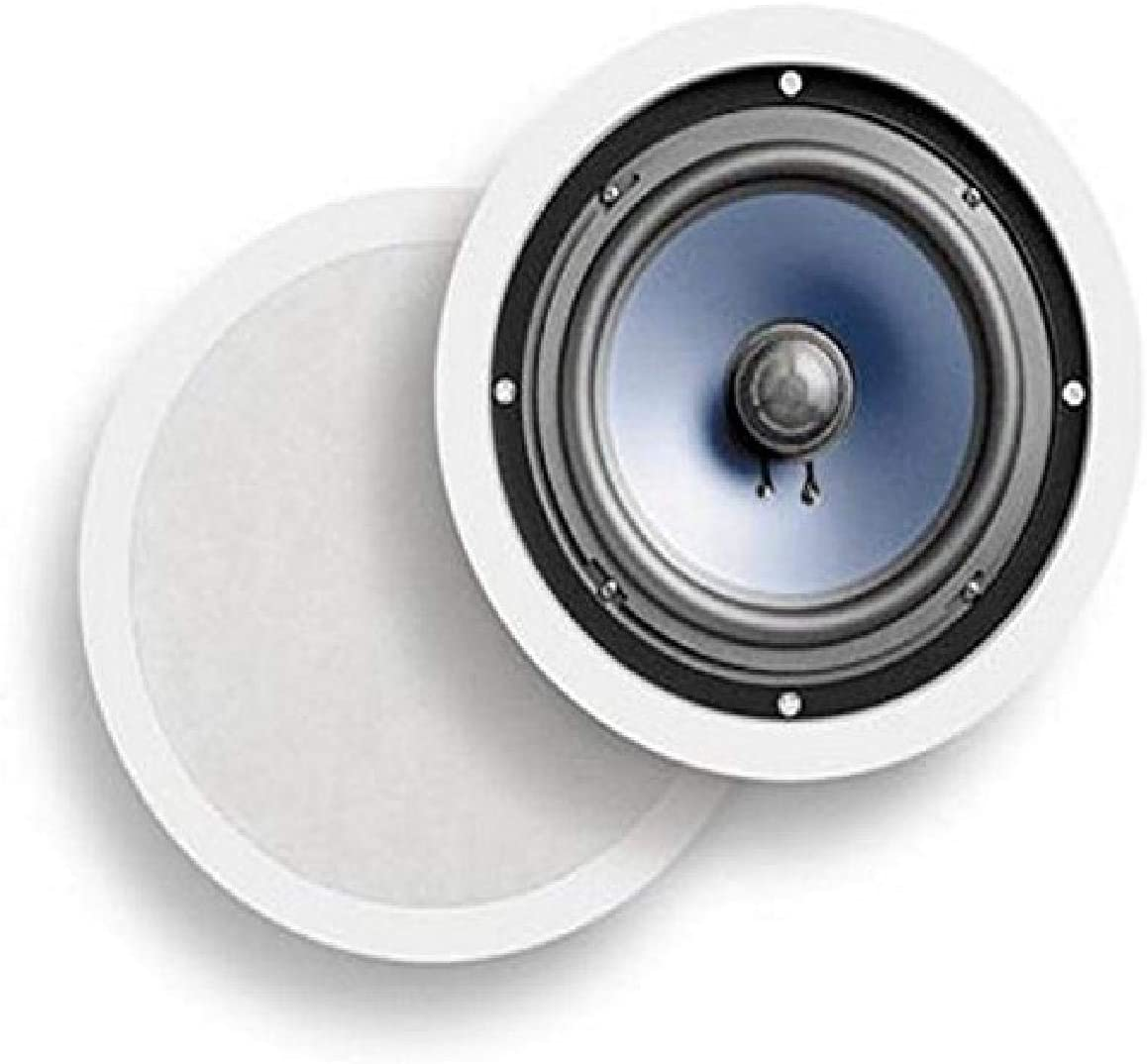 "Polk Audio RC80i 2-way Premium In-Ceiling 8"" Round Speakers, Set of 2 Perfect for Damp and Humid Indoor/Outdoor Placement - Bath, Kitchen, Covered Porches (White, Paintable Grille)"