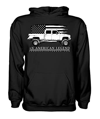 Amazon com: Aggressive Thread Squarebody Chevy Truck Truck Hoodie