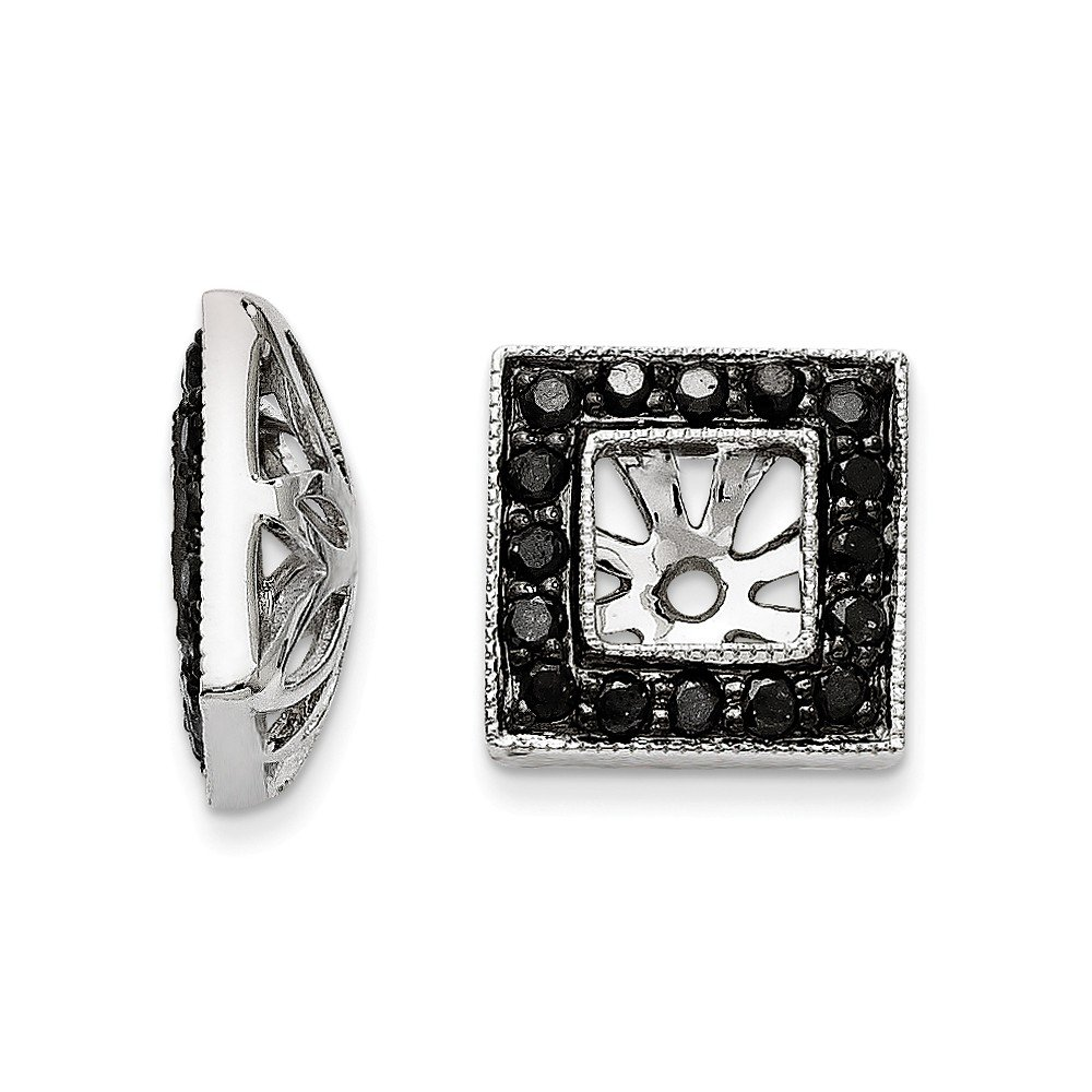 Top 10 Jewelry Gift 14K White Gold Black Diamond Square Jacket Earrings by Jewelry Brothers Earrings (Image #1)