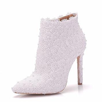 GAIHU Boda mujer Zapatos de novia damas de blanco vestidos botas de tacón puntiagudo noche primavera