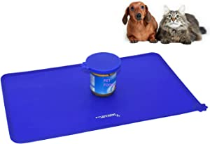 Food Grade Silicone Pet cat & dog food feeding meal bowl dish mat placemat with 3 in 1 food can cover seal My friend has 4 paws printed non-slip flexible waterproof traveling for any type of floor