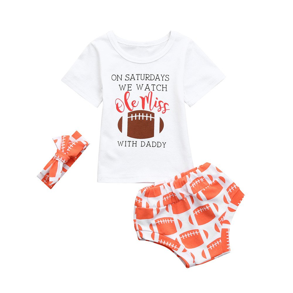 Baby Girls Summer Outfits Cheap Letter Print Tee Tops + Baby Shorts + Baby Girls Headband(White,80)