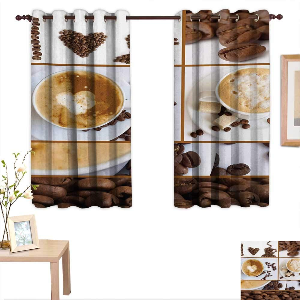 "Superlucky Kitchen Decor Curtains by Coffee Themed Collage of Beans Mugs Hot Foamy Drink with a Heart Macro Aroma Photo 63""x 72"",Suitable for Bedroom Living Room Study, etc."