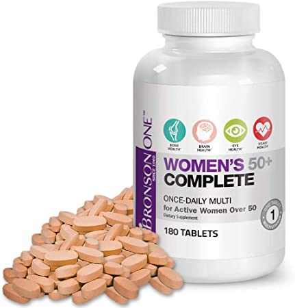 Bronson ONE Daily Women's 50+ Complete Multivitamin Multimineral, 180 Tablets