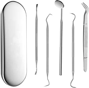 STTEFGB Dental Clean Tool Set - 304 Stainless Steel Packing Box Tartar Scraper,Tooth Pick,Dental Scaler,Mouth Mirror for Dentist and Home Using 5 Pieces/sets