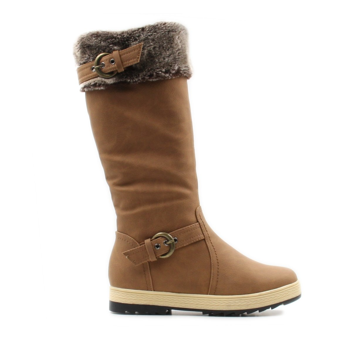 Stylish & Comfort Women's Knee High Zipper up Winter Boots with Fur Lined Collar and Interior Warm Shoes (7.5, Tan)