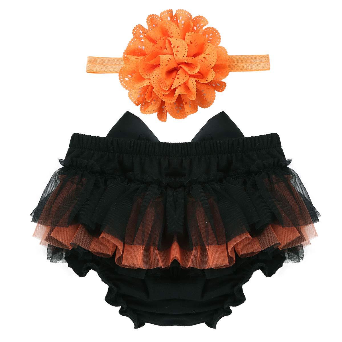 iixpin Bébé Fille Bloomer en Tulle Noeud avec Bandeau à Cheveux Floral Couvre-Couche Culotte Quotidien Mignon pour Bébé Äge 1-9 Mois
