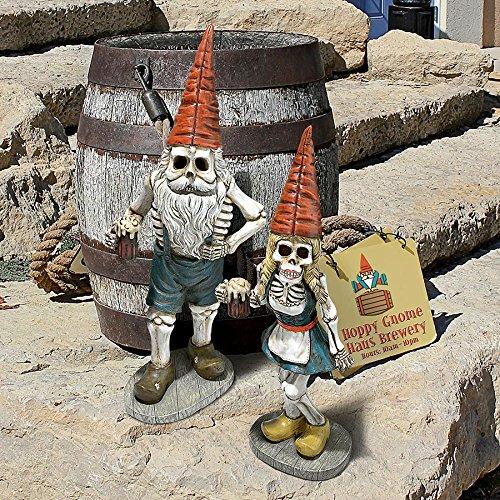 Zombie Gnome - Bavarian Oktoberfest Skeleton Gnome Hans & Gerta Set - Garden Gnome Statue