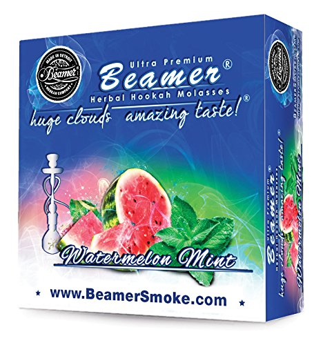 Watermelon Mint Beamer® Ultra Premium Hookah Molasses 50 Gram Box. Huge Clouds, Amazing Taste!® 100 % Tobacco, Nicotine & Tar Free but more taste than tobacco! Compares to Hookah Tobacco at a fraction of the price! GREAT TASTE, LOTS OF SMOKE & SMELLS GREAT!!! Proudly made in the USA!!