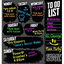 Chart and Soul Large Chalkboard Calendar Wall Decal with List Planner for Home, Office, Kitchen and Business Memo - Reusable Organizer Monthly Schedule 12 inches by 12 inches