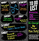 """Chart and Soul Weekly Chalkboard Wall Calendar Decal with To-do List - 12"""" x 12"""" Planner Size - Reusable Sticker For Daily Schedule For Home, Office, Kitchen, Dorm, and Business"""