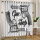 aolankaili 2 Panels Curtains Thermal Insulated Grommets Drapes Movies Cowboy Texas Times Two Guns Pistols Image Black and for Bedroom (2 Panels, 84'' x 84'')