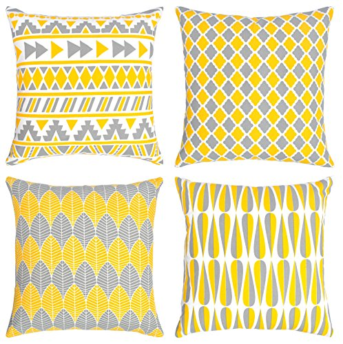 Urban Style Decor 4 Packs Throw Pillow Cases - Cotton Canvas Sofa & Bed Home Decor Geometric Design 18 X 18 Inch Cushion Covers, Four Square Collection (Yellow, 18 x 18) (Link Pillow)