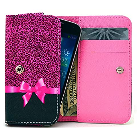 LG G3 S Vigor Case,Universal Wallet Clutch Bag Carrying Fold Leather Smartphone Case with Buckle Card Slot for LG G3 S Vigor D725-Leopard Print (Lg G3 Vigor Leopard Phone Case)