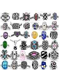 (20 Beads Mix) Pack of Assorted Charms, Color Crystal Bead Charms, Murano Glass Beads and Spacers For SNAKE Chain Charm Bracelet