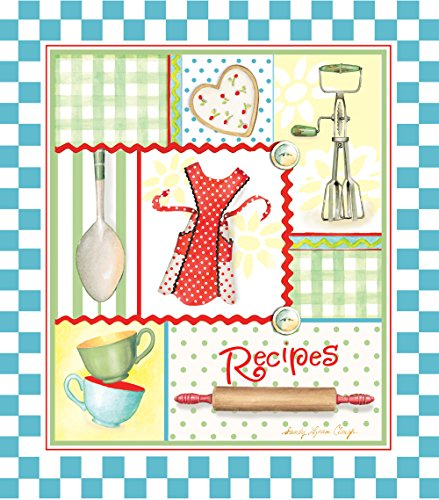 Recipe Binder Set with Plastic Page Protectors and Recipe Cards, Retro Aprons