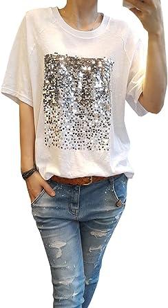 COCO clothing Camisetas Mujer Manga Corta T-Shirt Lentejuelas Holgada Bordado Tops Cómodo Blusas Verano (Blanco, s): Amazon.es: Ropa y accesorios
