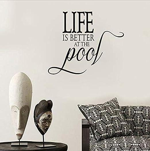 La vida es mejor en la piscina Art Deco PVC Adhesivos de pared ...