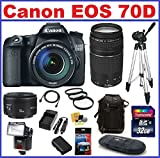 Canon EOS 70D DSLR Camera with 3 Canon Lenses Pro Pack: Includes - Canon EF-S 18-135mm f/3.5-5.6 IS STM Lens - Canon Zoom Telephoto EF 75-300mm III - Canon EF 50mm f1.8 II Autofocus Lens, Also Includes Deleuxe Backpack, Spare Battery & Travel Charger, 32GB SDHC Card & Card Reader, 3 UV Filters and much more...