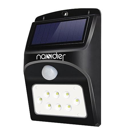 Luz Solar Exterior 8 LEDs Naisidier Aplique Energía Solar con Sensor de Movimiento Lámpara solar Más